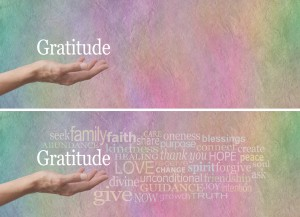 Gratitude Attitude Word Cloud - Female hand outstretched with palm up and the word 'Gratitude' hovering above surrounded by a relevant word cloud on a rainbow colored stone effect background